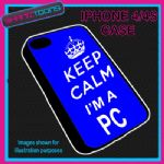 FITS IPHONE 4 / 4S PHONE KEEP CALM IM A PC POLICE PLASTIC COVER BLUE
